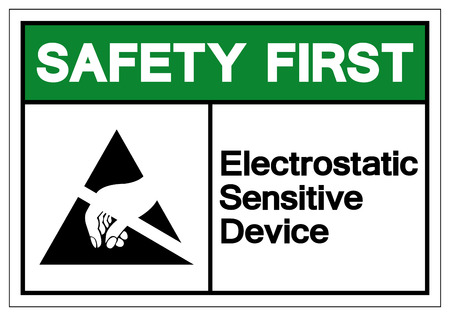 Safety First Electrostatic Sensitive Device Symbol Sign, Vector Illustration, Isolated On White Background Label .EPS10 Çizim