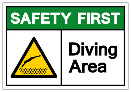 Safety First Diving Area Symbol Sign, Vector Illustration, Isolate On White Background Label. EPS10