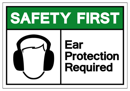 Safety First Ear Protection Required Symbol Sign, Vector Illustration, Isolate On White Background Label. EPS10 Vektorové ilustrace
