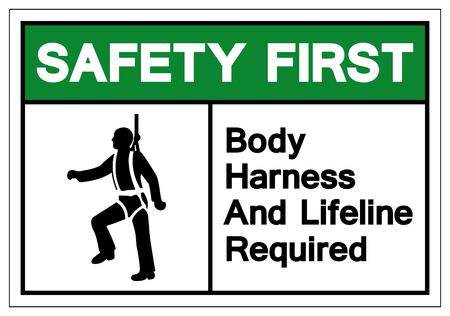 Sicurezza prima imbracatura per il corpo e segno di simbolo di Lifeline richiesto, illustrazione vettoriale, isolare su sfondo bianco etichetta. EPS10
