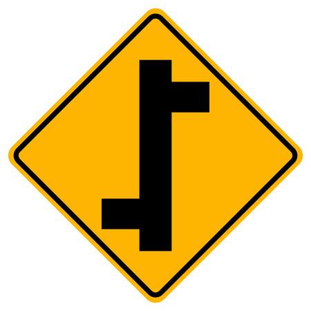 Segnale stradale di traffico di svincolo sfalsato, illustrazione vettoriale, isolare su sfondo bianco icona. EPS10
