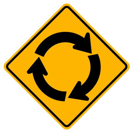 Panneau de signalisation de trafic rond-point, illustration vectorielle, isoler sur l'icône de fond blanc. EPS10