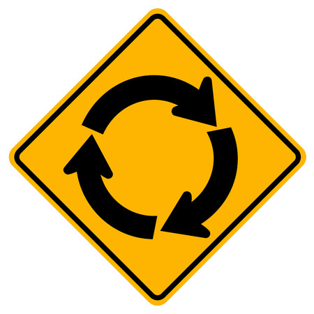 Roundabout Traffic Road Sign,Vector Illustration, Isolate On White Background Icon. EPS10