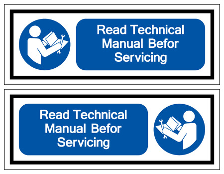 Read Technical Manual Before Servicing Symbol Sign, Vector Illustration, Isolate On White Background Label .EPS10