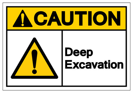 Caution Deep Excavation Symbol Sign, Vector Illustration, Isolate On White Background Label. EPS10