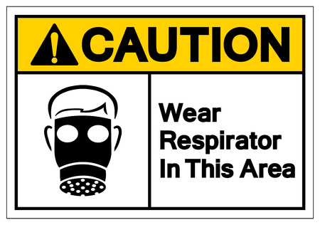 Caution Wear Respirator In This Area Symbol Sign, Vector Illustration, Isolate On White Background Label. EPS10   Illustration