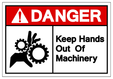Danger Keep Hands Out Of Machinery Symbol Sign, Vector Illustration, Isolate On White Background Label. EPS10