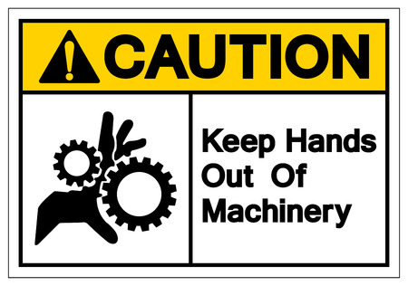 Caution Keep Hands Out Of Machinery Symbol Sign, Vector Illustration, Isolate On White Background Label. EPS10 Ilustração