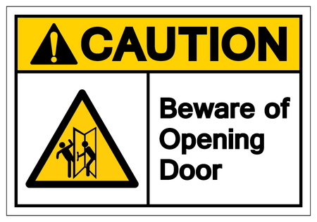 Caution Beware Of Opening Door Symbol Sign, Vector Illustration, Isolate On White Background Label. EPS10