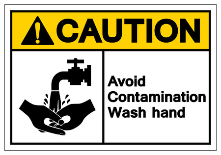 Caution Avoid Contamination Wash Hand Symbol Sign, Vector Illustration, Isolate On White Background Label. EPS10 Banque d'images - 123051795