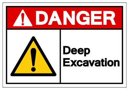 Danger Deep Excavation Symbol Sign, Vector Illustration, Isolate On White Background Label. EPS10 Vettoriali