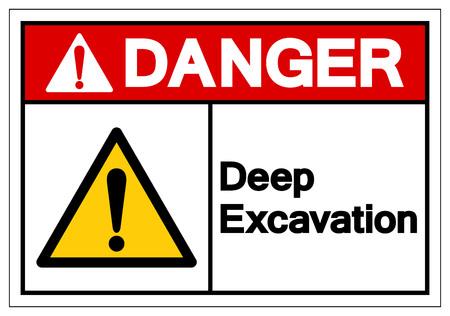 Danger Deep Excavation Symbol Sign, Vector Illustration, Isolate On White Background Label. EPS10 Illustration