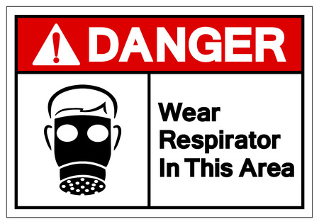 Danger Wear Respirator In This Area Symbol Sign, Vector Illustration, Isolate On White Background Label. EPS10
