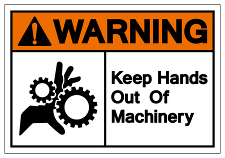 Warning Keep Hands Out Of Machinery Symbol Sign, Vector Illustration, Isolate On White Background Label. EPS10
