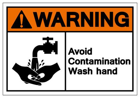 Warning Avoid Contamination Wash Hand Symbol Sign, Vector Illustration, Isolate On White Background Label. EPS10 Standard-Bild - 123051813