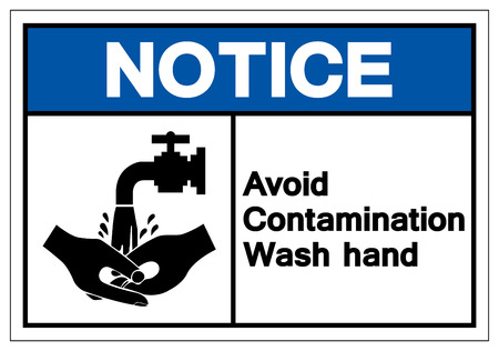 Notice Avoid Contamination Wash Hand Symbol Sign, Vector Illustration, Isolate On White Background Label. EPS10 Standard-Bild - 123051820