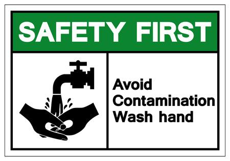 La sécurité d'abord, évitez le signe de symbole de main de lavage de contamination, illustration vectorielle, isoler sur étiquette de fond blanc. EPS10
