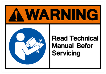 Warning Read Technical Manual Before Servicing Symbol Sign, Vector Illustration, Isolate On White Background Label .EPS10