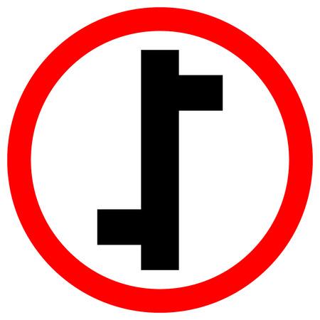 Panneau de signalisation de trafic de jonction décalée, illustration vectorielle, isoler sur l'icône de fond blanc. EPS10