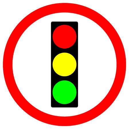 Traffic Light Warning Sign,Vector Illustration, Isolate On White Background, Symbols, Icon. EPS10