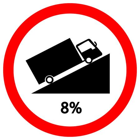 Avertissement jusqu'à Hill Square en forme de montée raide (8%) Panneau de signalisation routière, illustration vectorielle, isoler sur fond blanc, symboles, icône. EPS10