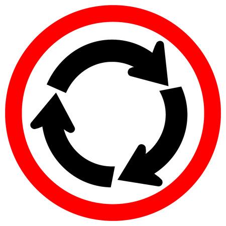 Panneau de signalisation de trafic rond-point, illustration vectorielle, isoler sur l'icône de fond blanc. EPS10 Vecteurs