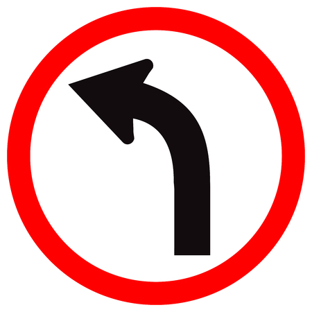 Curved Left Traffic Road Sign, Vector Illustration, Isolate On White Background,Symbols, Icon. EPS10