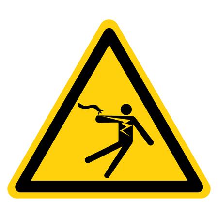 Segno di simbolo di folgorazione di scosse elettriche, illustrazione vettoriale, isolato su sfondo bianco etichetta .EPS10 Vettoriali