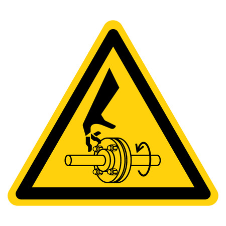Cutting of Fingers Rotating Shaft Symbol Sign, Vector Illustration, Isolate On White Background Label .EPS10