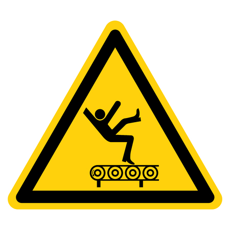 Fall Hazard From Conveyor Symbol Sign, Vector Illustration, Isolate On White Background Label .EPS10