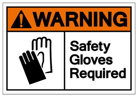 Advertencia: guantes de seguridad requeridos signo de símbolo, ilustración vectorial, aislar en etiqueta de fondo blanco. EPS10