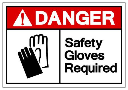 Danger Safety Gloves Required Symbol Sign, Vector Illustration, Isolate On White Background Label. EPS10 Ilustración de vector