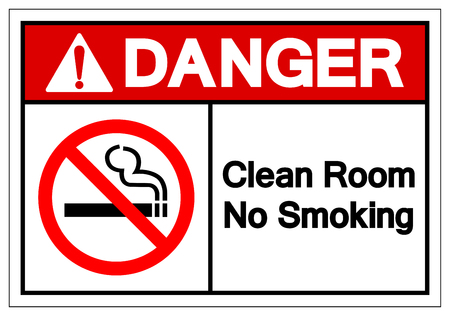 Danger Clean Room No Smoking Symbol Sign, Vector Illustration, Isolate On White Background Label. EPS10