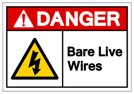 Danger Bar Live Wires Symbol Sign, Vector Illustration, Isolate On White Background Label. EPS10