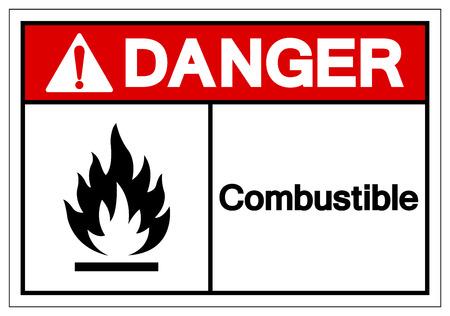Danger Combustible Symbol Sign, Vector Illustration, Isolate On White Background Label. EPS10 Vektorové ilustrace