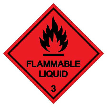 Segno di simbolo liquido infiammabile, illustrazione vettoriale, isolato su sfondo bianco etichetta. EPS10