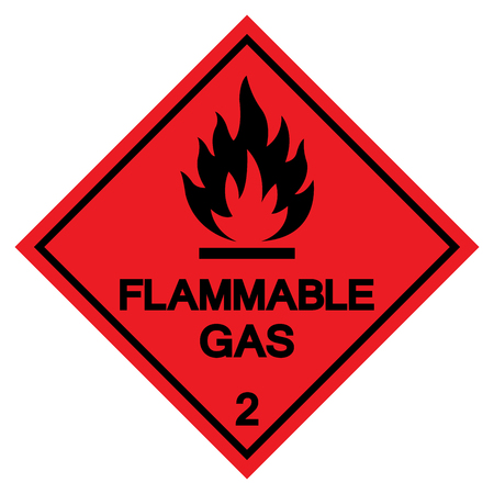 Segno di simbolo di gas infiammabile, illustrazione vettoriale, isolato su sfondo bianco etichetta. EPS10
