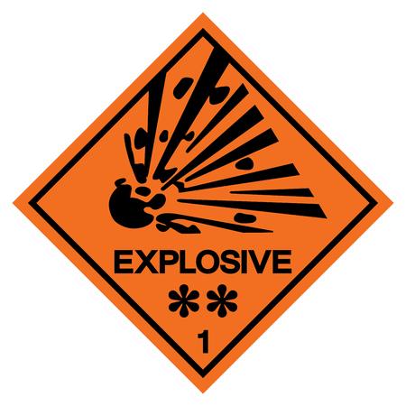 Signo de símbolo explosivo de advertencia, ilustración vectorial, aislar en etiqueta de fondo blanco. EPS10