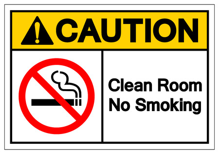 Caution Clean Room No Smoking Symbol Sign, Vector Illustration, Isolate On White Background Label. EPS10