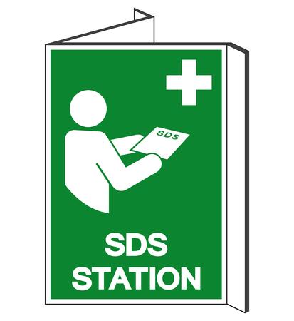 Segno di simbolo della stazione di SDS, illustrazione di vettore, isolare sull'etichetta bianca del fondo .EPS10 Vettoriali