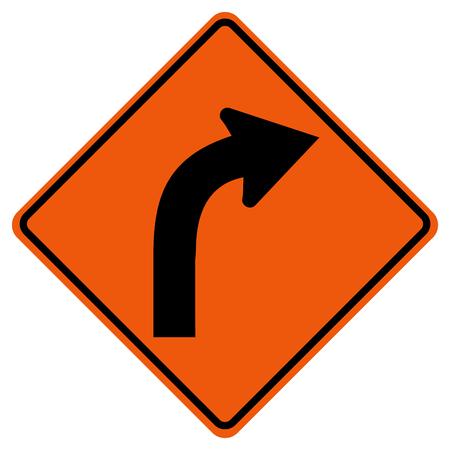 Curved Right Traffic Road Sign, Vector Illustration, Isolate On White Background,Symbols, Icon. Ilustração