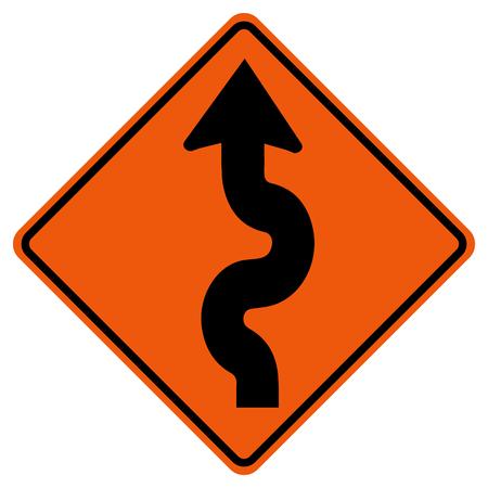 Panneau de signalisation de circulation sinueuse, illustration vectorielle, isoler sur l'icône de fond blanc.