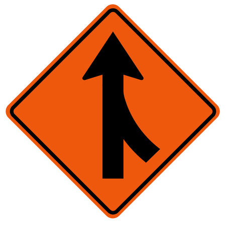 Merges Right Traffic Road Sign,Vector Illustration, Isolate On White Background, Symbols, Icon.