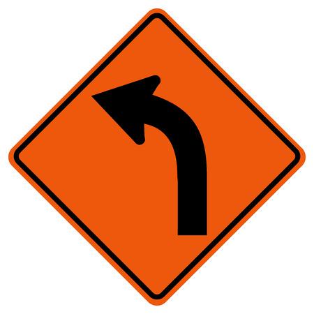 Panneau de signalisation de circulation gauche incurvé, illustration vectorielle, isoler sur fond blanc, symboles, icône.
