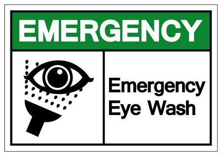 Emergency Eye Wash Symbol Sign, Vector Illustration, Isolate On White Background Label.