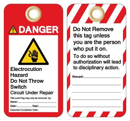 Danger Electrocution Hazard Do not throw switch circuit under repair Symbol Sign ,Vector Illustration, Isolate On White Background Label.