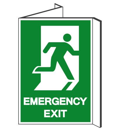 Notausgang-Symbol-Zeichen, Vektor-Illustration, auf weißem Hintergrund-Label isolieren. Vektorgrafik