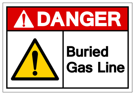 Danger Buried Gas Line Symbol Sign , Vector Illustration, Isolate On White Background Label.