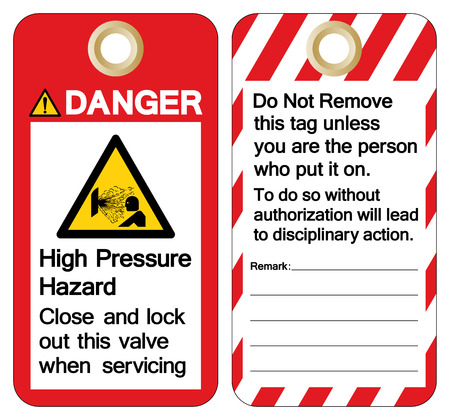 Danger High Pressure Hazard Close and Lock out this valve when servicing Symbol Sign, Vector Illustration, Isolate On White Background Label.