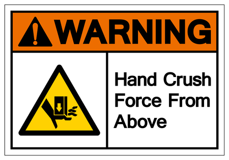 Warning  Crush Force From Above Symbol Sign, Vector Illustration, Isolate On White Background Label .